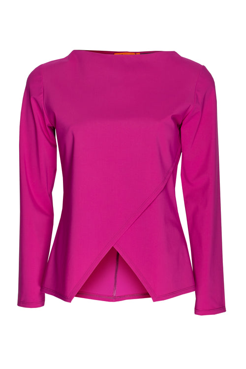 Cerise Jersey Long Sleeve Crossover Top 8222