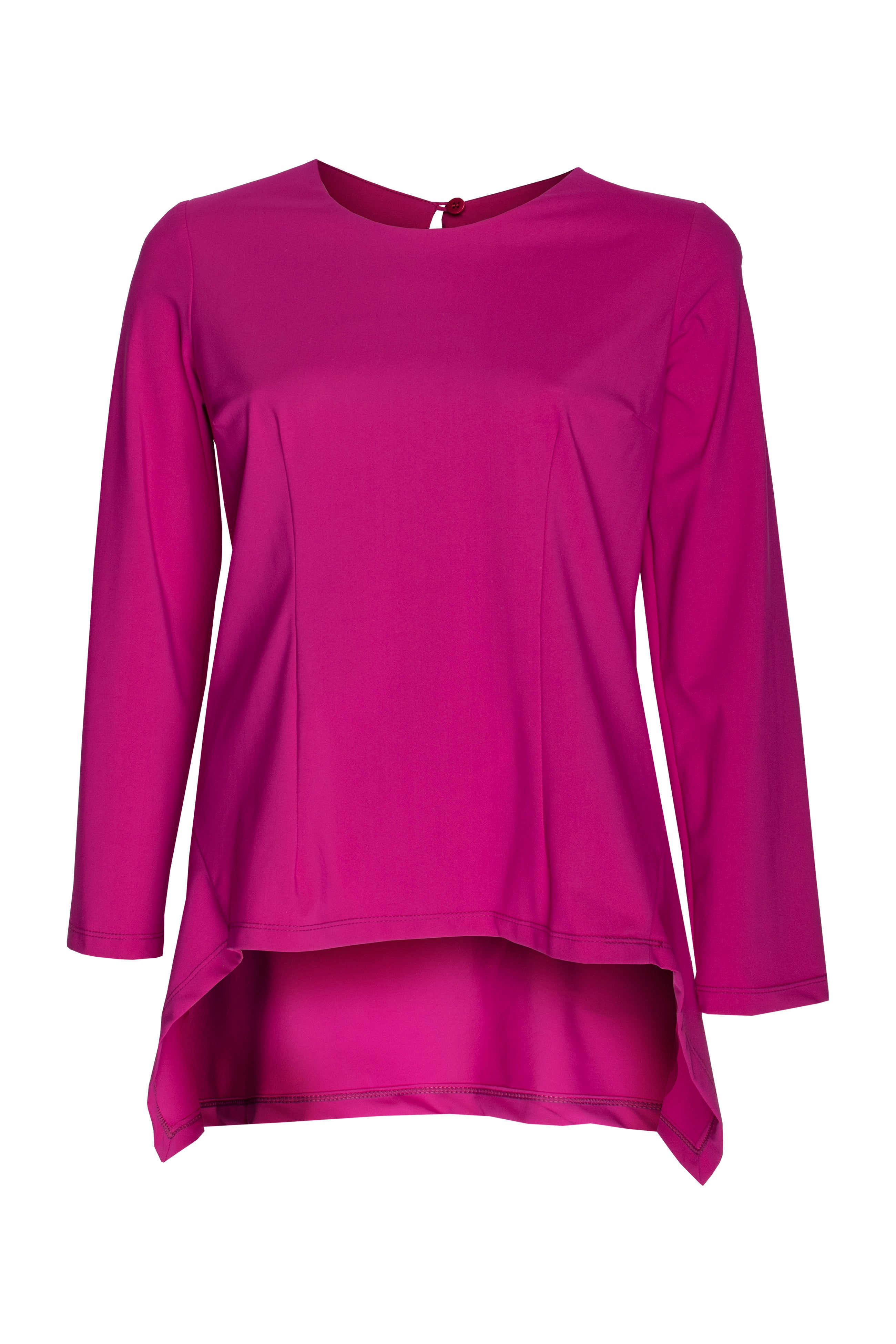 Cerise Jersey Long Sleeve Angle Top 8227