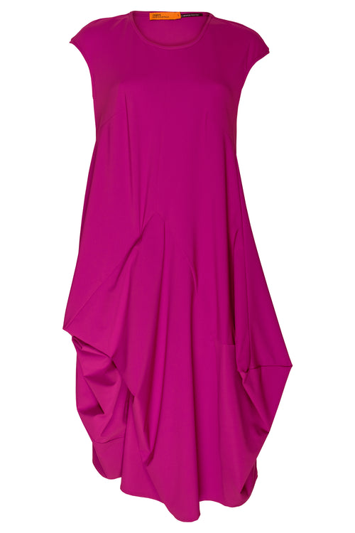 Cerise Jersey Tucked Cap Sleeve Dress 7249