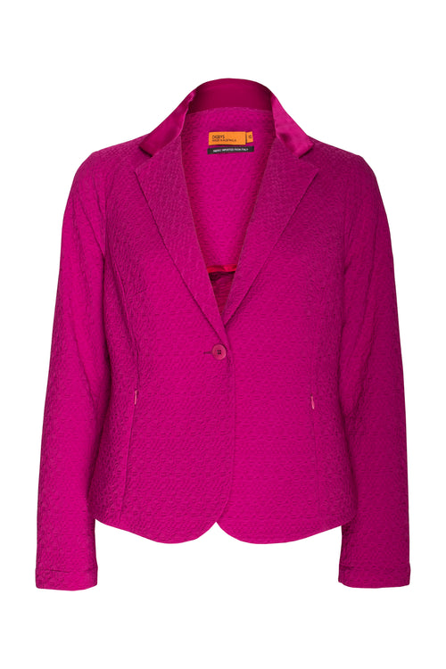 Cerise Pink Zip Pocket Blazer Jacket in an Italian stretch jacquard fabric, made in Australia