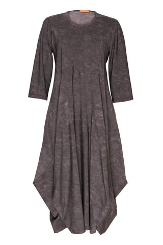 Black 3/4 Sleeve Round Neck Multipanel Dress 5240