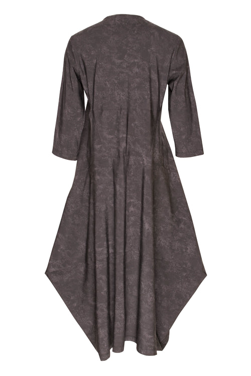 Charcoal 3/4 Sleeve Round Neck Multipanel Dress 5241