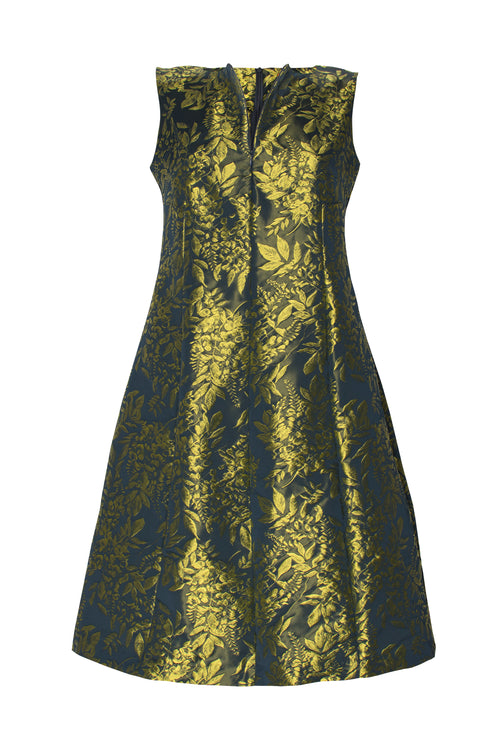 Chartreuse Zip Front Panel Dress 4202