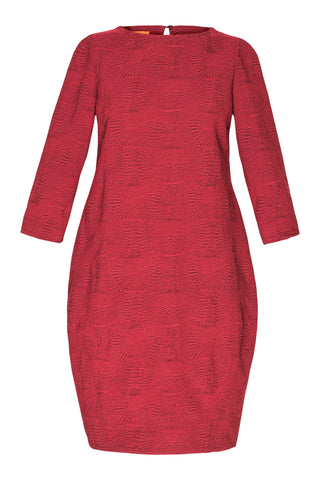 Flame 3/4 Sleeve Vee Neck Multipanel Dress 6234