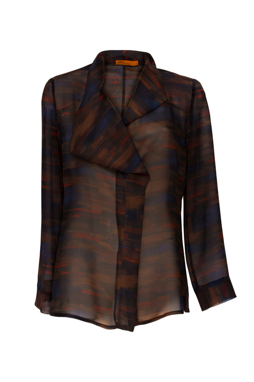 Brown Abstract Asymmetric Collar Shirt 4241