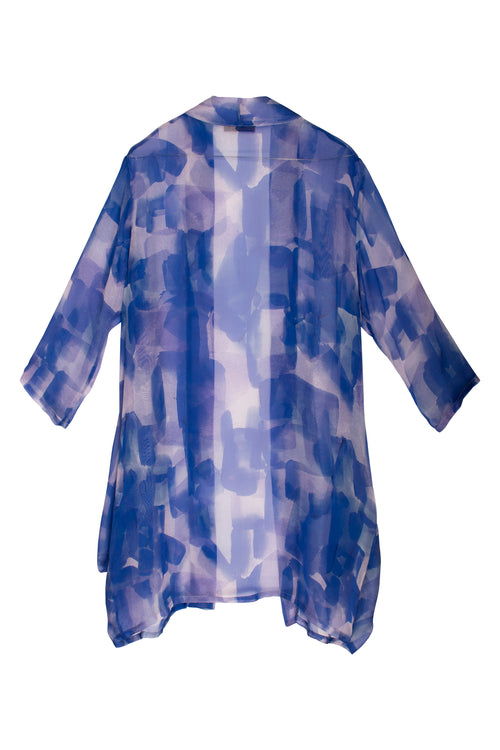Cobalt Side Drape Long Duster 7239
