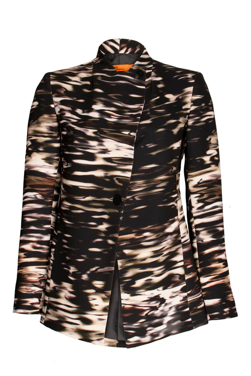 Black Print High Button Classic Jacket 9246