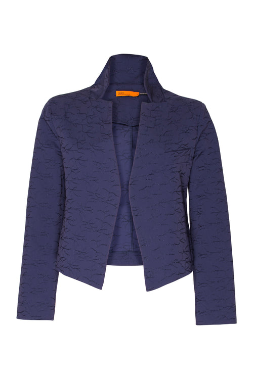 Indigo Embroidered High Collar Classic Jacket 5209