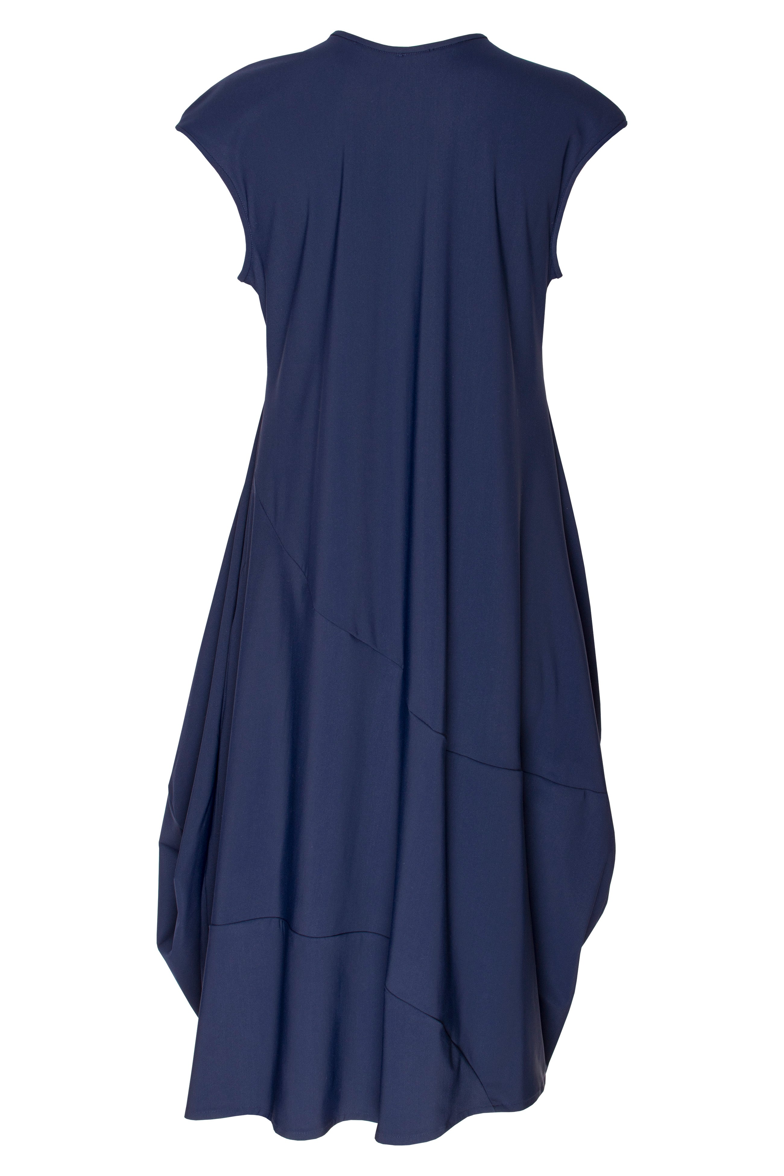 Indigo Jersey Tucked Cap Sleeve Dress 7248