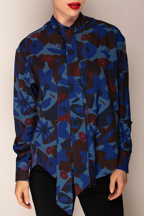 Blues Wine Tie Neck Shirt