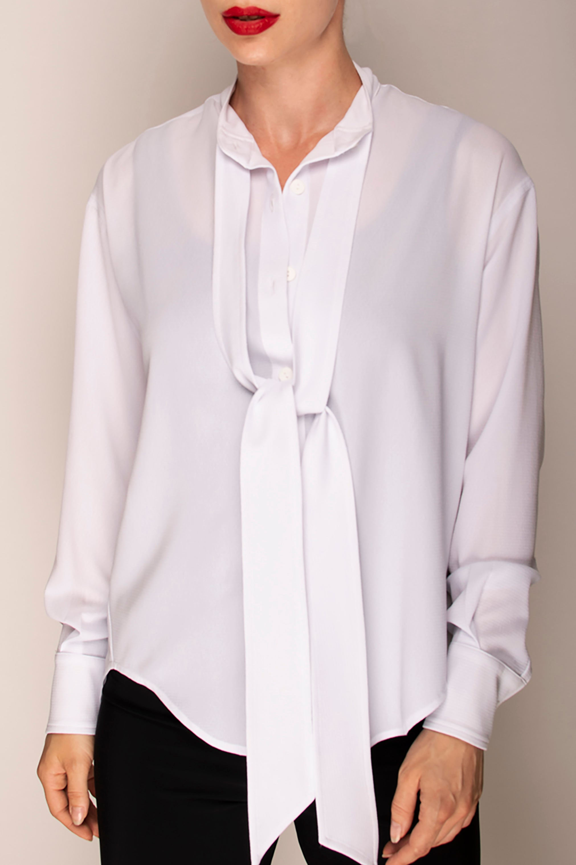 White Tie Neck Shirt
