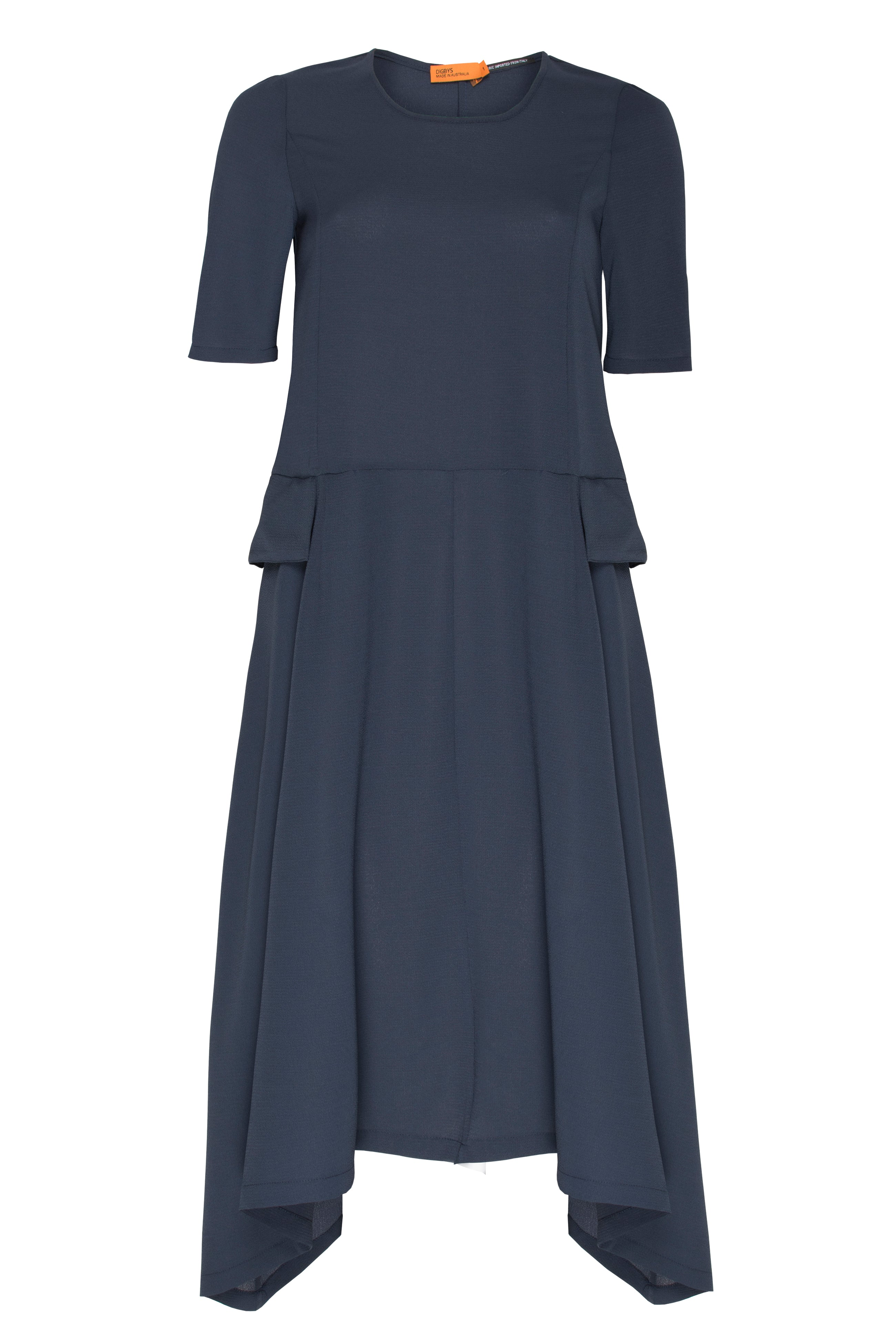 Navy Short Sleeve Angle Hem Dress 6284