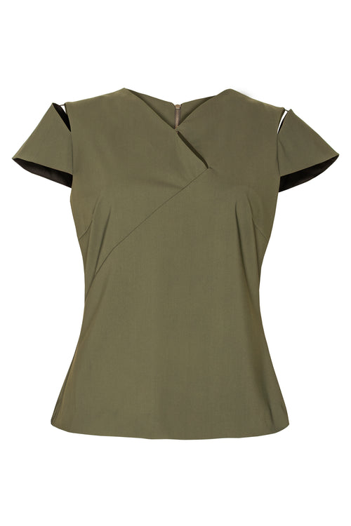 Olive Slashed Cap Sleeve Top 4238