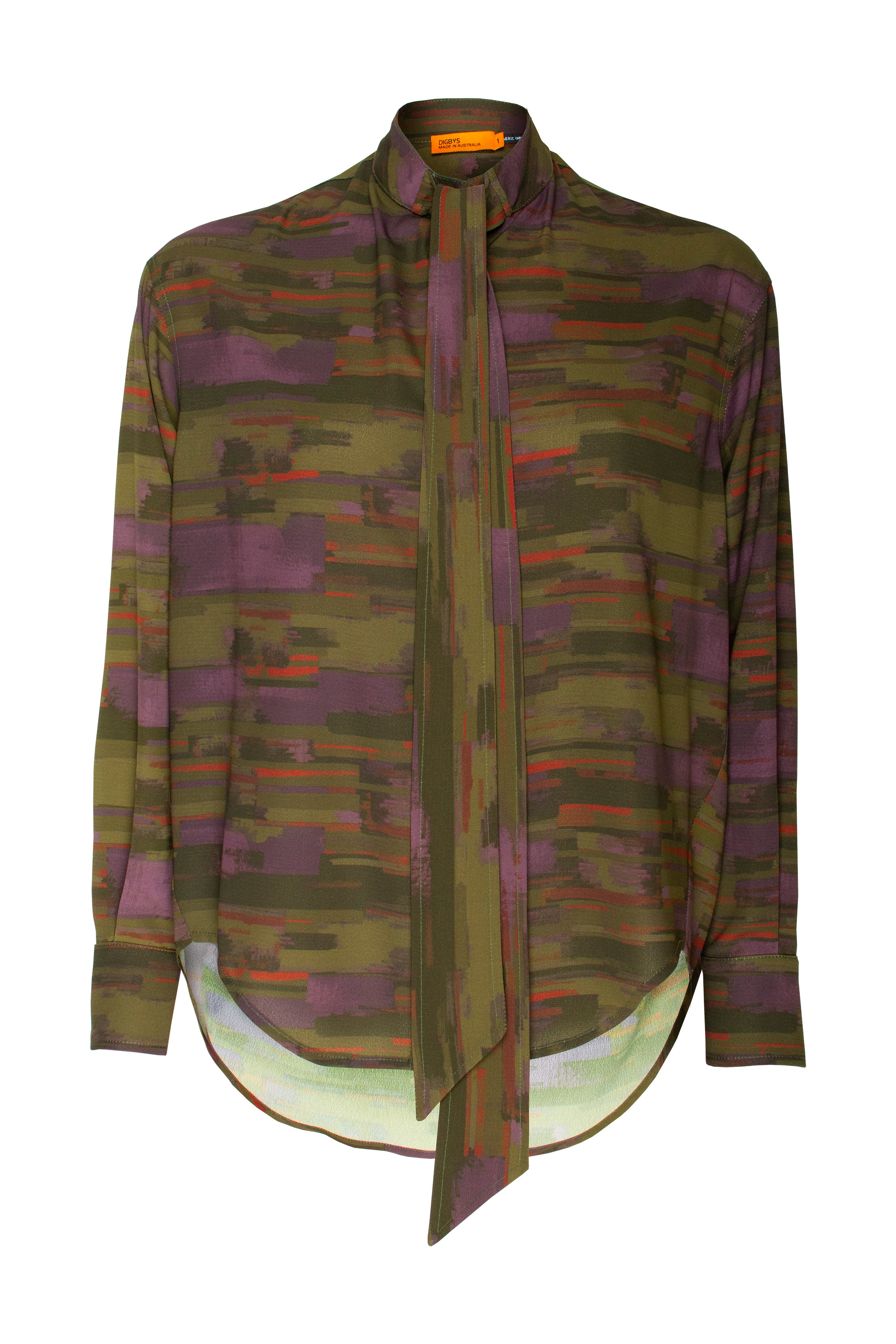 Olive Purple Tie Neck Shirt