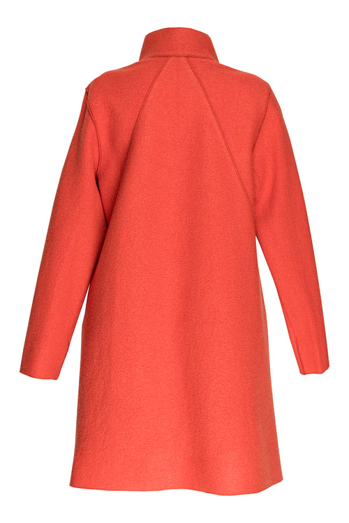Orange Uneven Hem Coat 7219