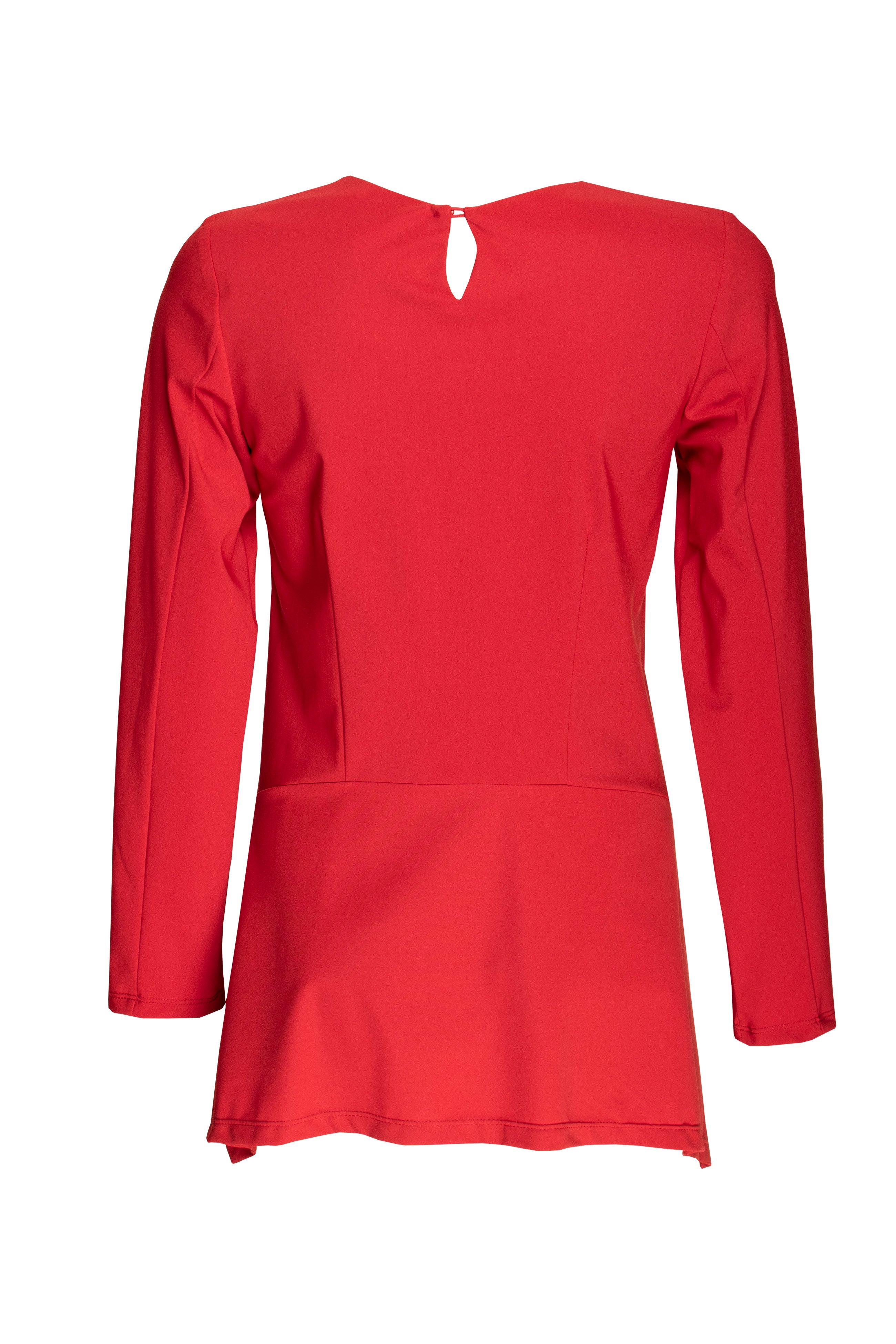Red Jersey Long Sleeve Angle Top 8225