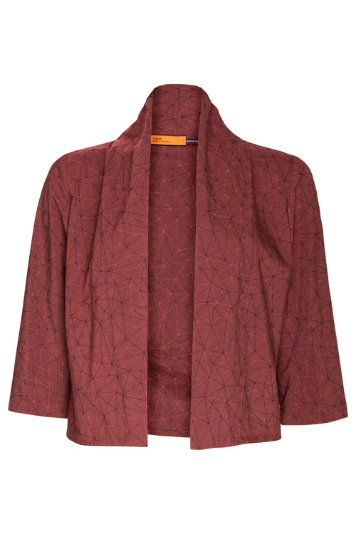 Rust Geometric 3/4 Sleeve Short Duster 6229
