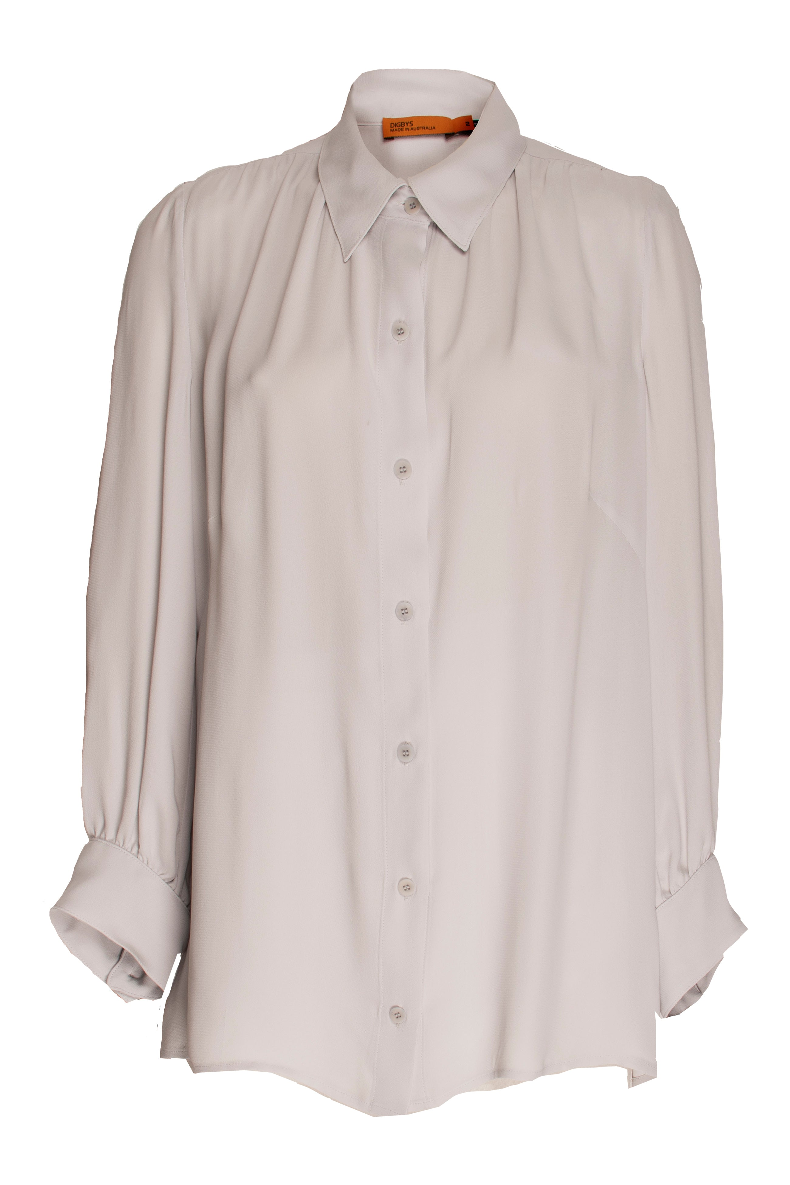Silver Gathered Yoke Shirt 9226