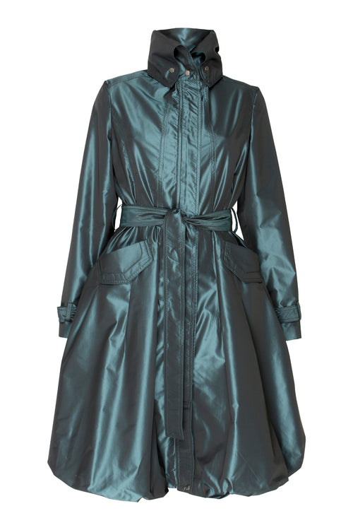 Teal Bubble Hem Trench, Coat Dress
