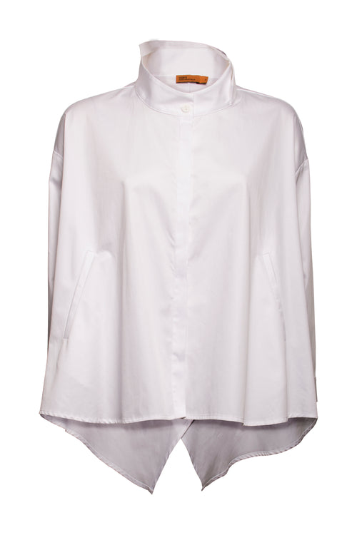 White Cotton Front Pockets Swing Shirt 7202