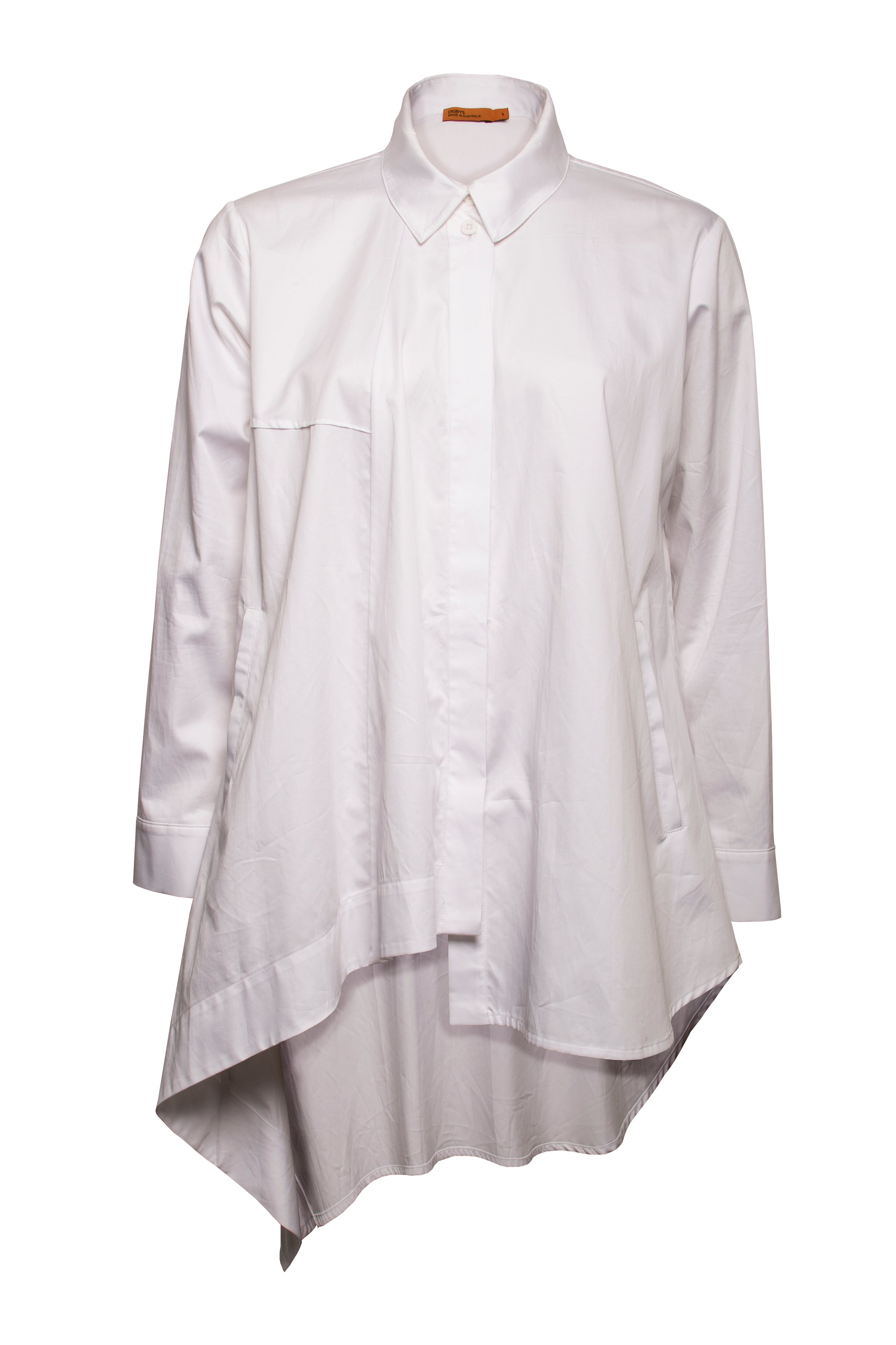 White Cotton Long Asymmetric Shirt 6208