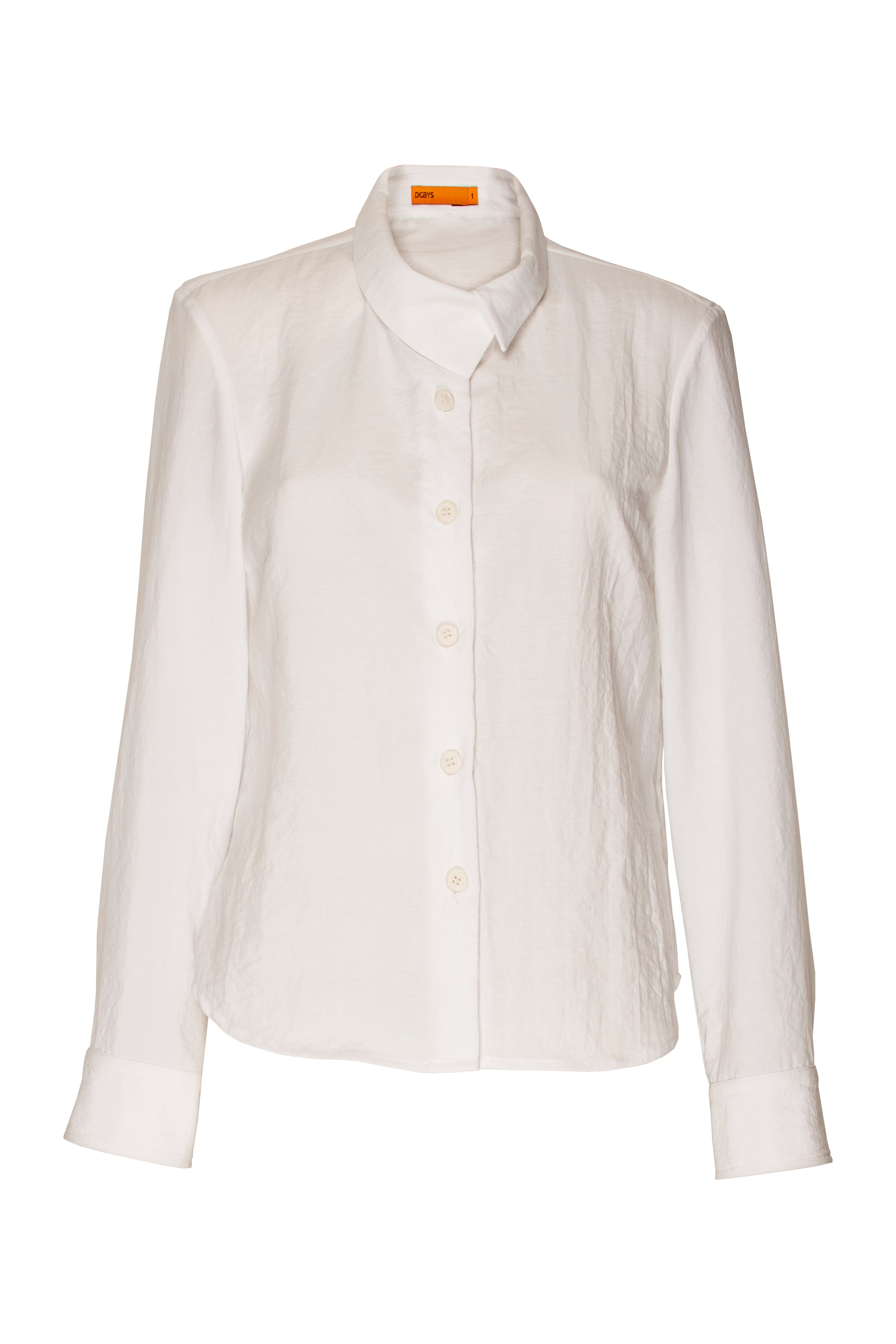 White Cross Over Collar Shirt 3267