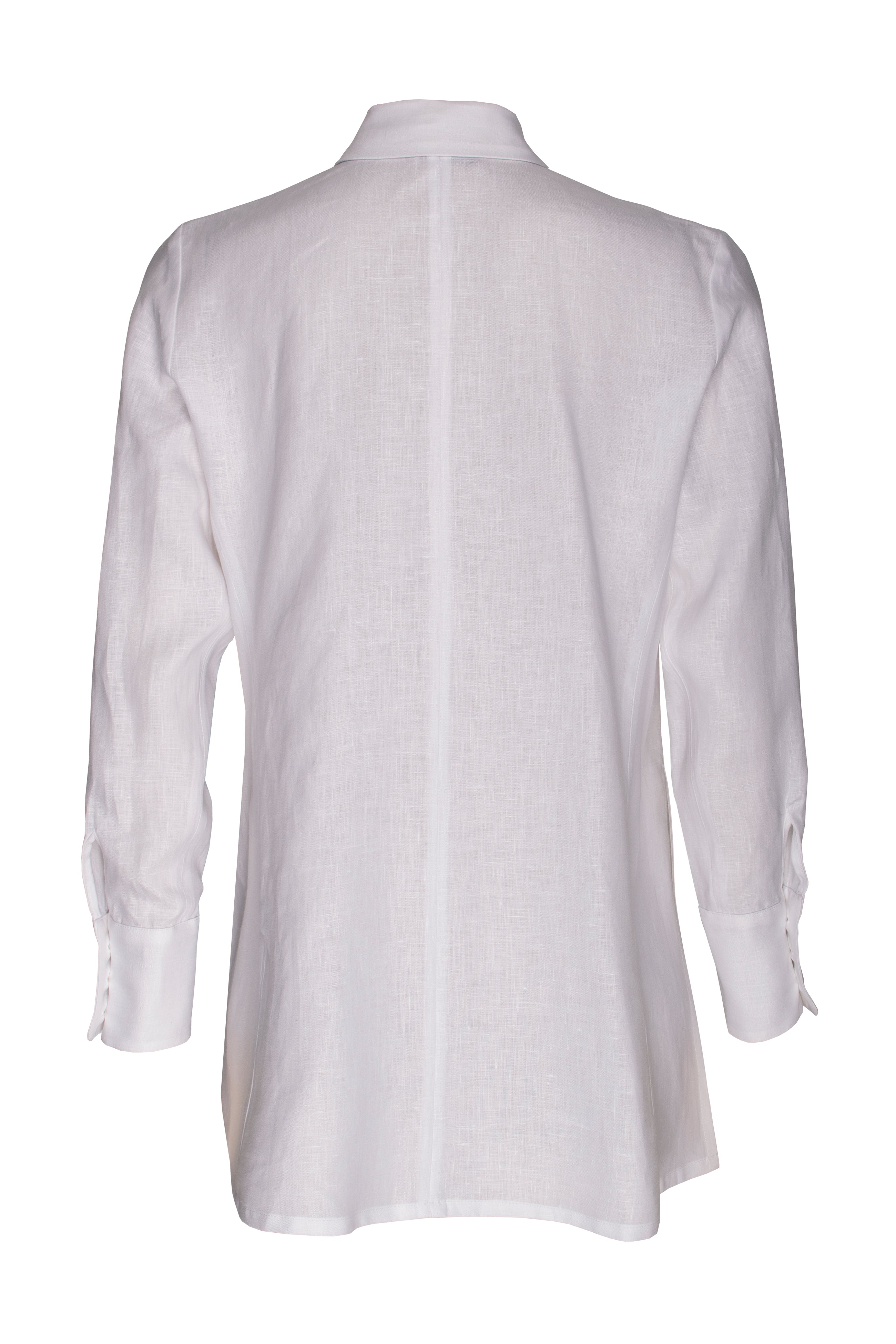 White Linen 4 Button Shirt 6211