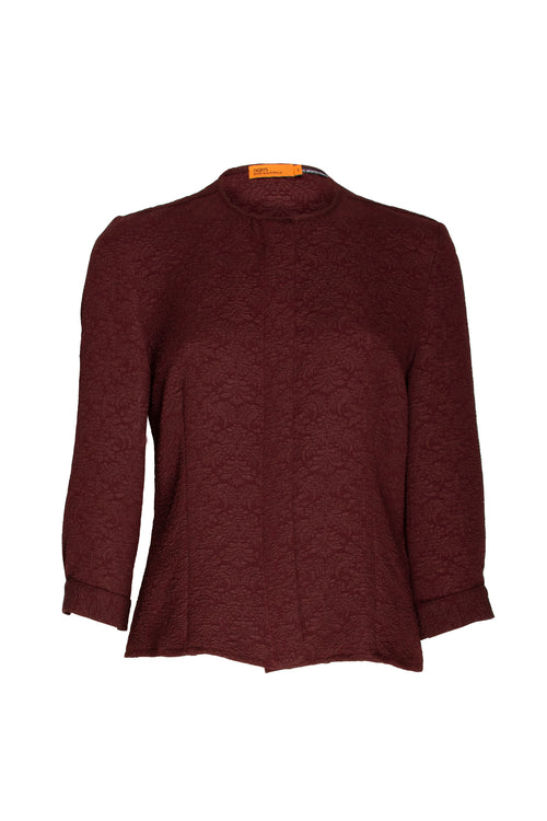 Burgundy Jacquard Collarless 3/4 Sleeve Shirt 9217