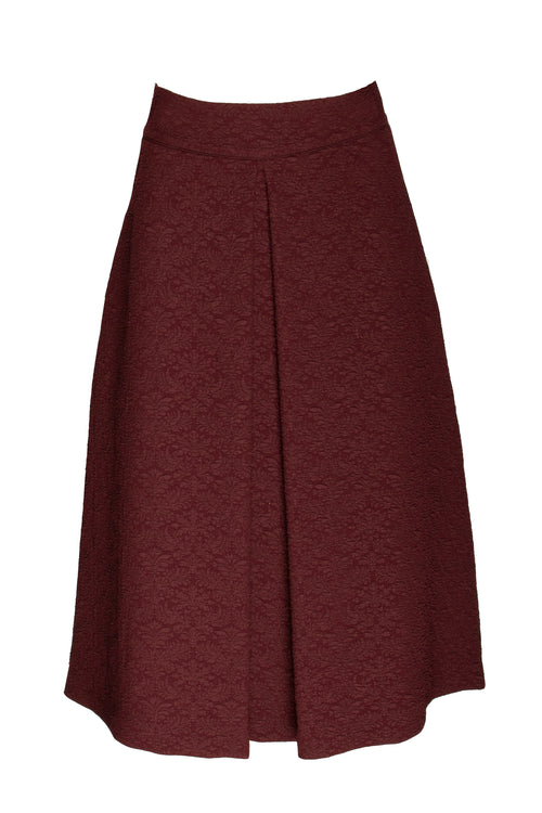 Burgundy Jacquard Front Pleat Skirt 9231