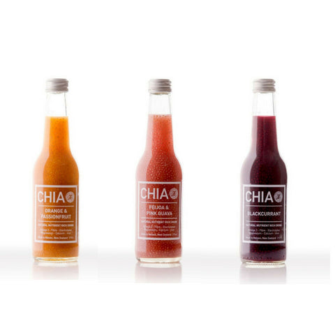 Food & Drink - Chia Drink Three Pack - Orange & Passionfruit, Fejioa & Guava With Blackcurrant