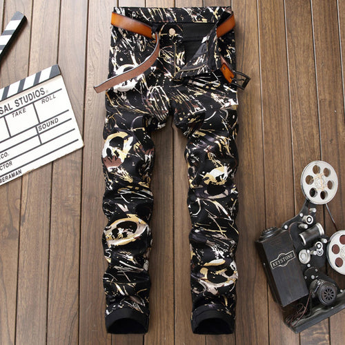 Printed Long Pants Cotton Casual Stripe Men's Jeans