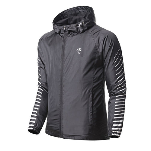 Stripe Smooth Hooded Zippered Men's Jacket