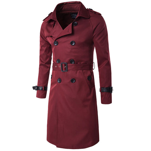 Lapel Plain Casual Double-Breasted Men's Trench Coat