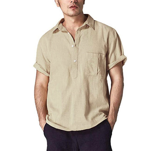 Solid color linen lapel shirt short sleeve