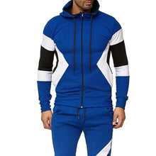 Load image into Gallery viewer, Stitching multi-color hooded sports suit