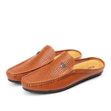 Shoes-Men Casual Breathable Slipper Hollow Out Genuine Leather Shoes On Loafer