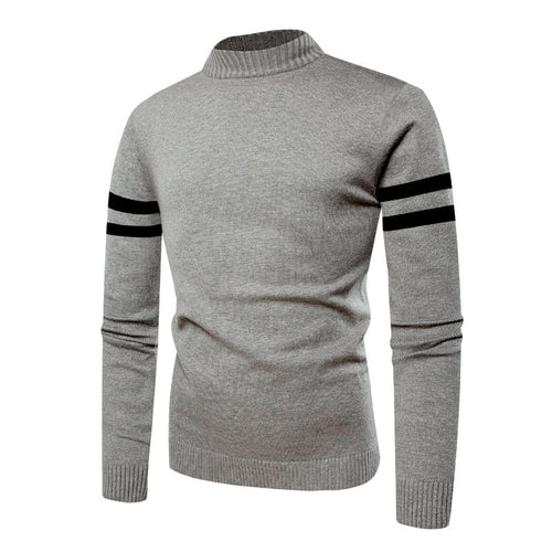 Stripe Casual Plain Stand Collar Pullover Men's Sweater
