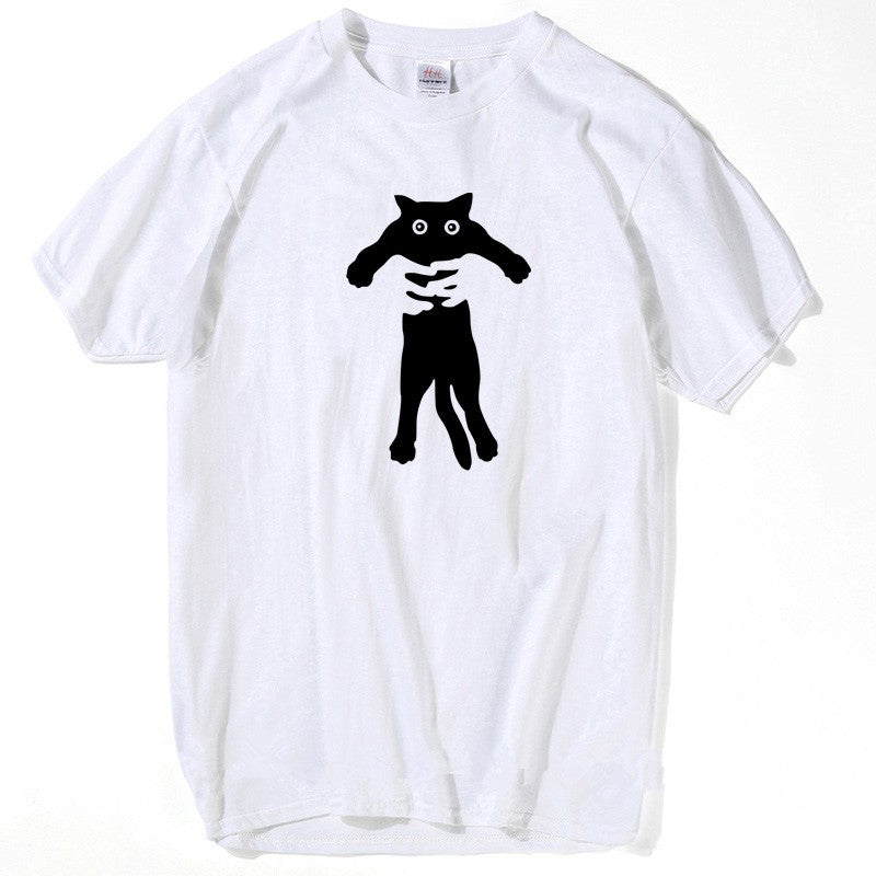 Men Fashion Anime Black Cat T shirt