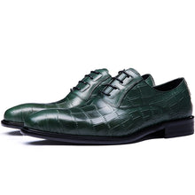 Load image into Gallery viewer, Genuine Cow Leather Crocodile Print Party Man Green Dress Shoe