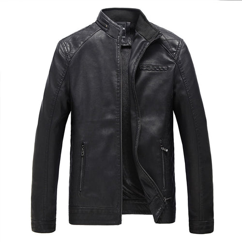Men's Stand Collar Thickening Jackets Windproof Zipper Men's Leather Jacket Coat Casual Outerwear