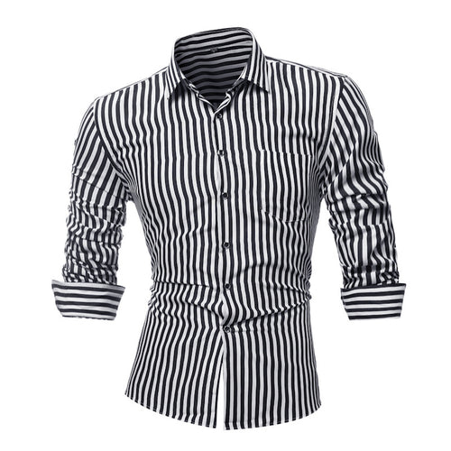 Autumn long sleeve striped simple men's shirt
