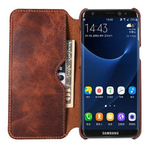 Load image into Gallery viewer, Luxury Real Genuine Leather Flip Wallet Case For Samsung S8/S8+