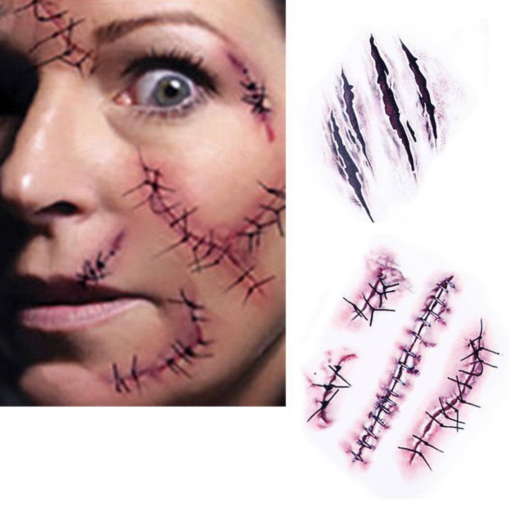 HOT!! 50PCS/ Lot Halloween Zombie Scars Tattoos With Fake Scab Blood
