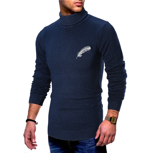 Pure Feather Pattern High Collar Men's Sweater