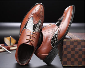 Microfiber Leather New Brogue Oxford Men Shoes