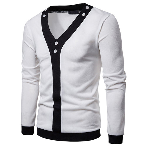 Hit Color V-Neck Acrylic Button Men's Sweaters
