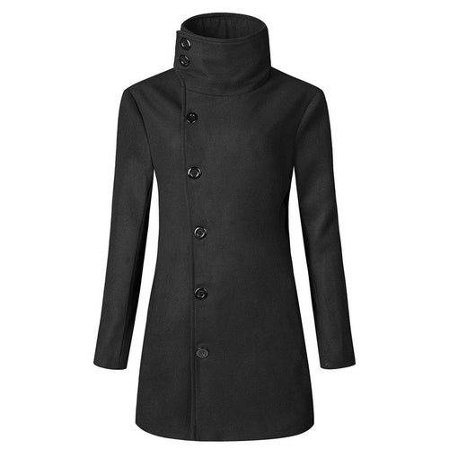 Slim Single-Breasted Solid Color Wool Blends Men's Trench Coat