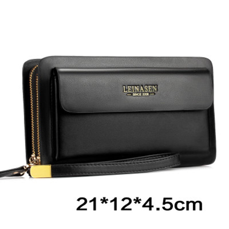 NEW Genuine Leather Multifunction Zipper Man Long Wallet