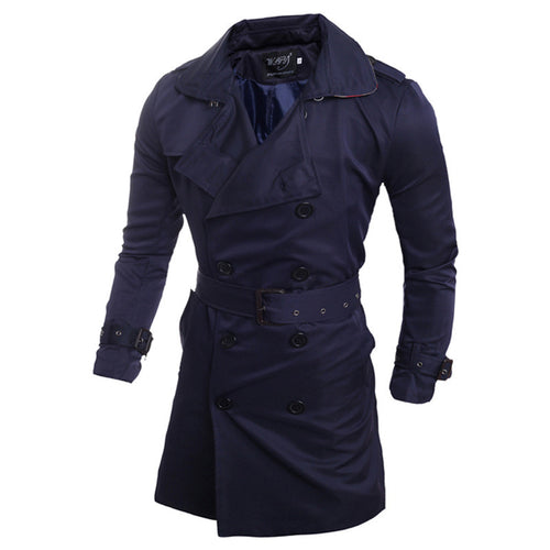 Casual Business Double-Breasted Men's Trench Coat
