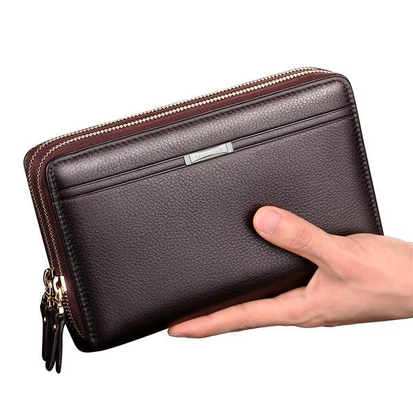 Clutch Business Male  Double Zipper Vintage Large Wallet